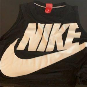 Nike black big logo crop top